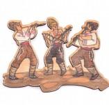 182/2473/Елементи от бирен картон и дърво-Лазерно изрязани фолклорни фигури от бирен картон -Музиканти