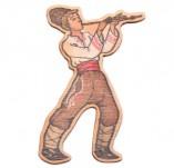 182/2474/Елементи от бирен картон и дърво-Лазерно изрязани фолклорни фигури от бирен картон -Момък с кавал