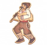 182/2475/Елементи от бирен картон и дърво-Лазерно изрязани фолклорни фигури от бирен картон -Момък с гайда
