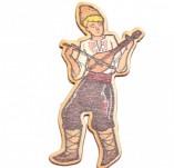 182/2476/Елементи от бирен картон и дърво-Лазерно изрязани фолклорни фигури от бирен картон -Момък с гъдулка