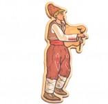 182/2478/Елементи от бирен картон и дърво-Лазерно изрязани фолклорни фигури от бирен картон -Момък с гайда
