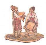 182/2483/Елементи от бирен картон и дърво-Лазерно изрязани фолклорни фигури от бирен картон -Музиканти 2