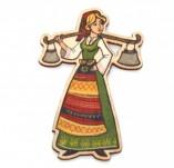 182/2488/Елементи от бирен картон и дърво-Лазерно изрязани фолклорни фигури от бирен картон -Мома с менци