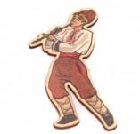 182/2489/Елементи от бирен картон и дърво-Лазерно изрязани фолклорни фигури от бирен картон -Момък с кавал