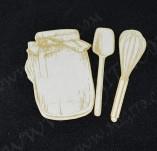 207/2513/Чипборд елементи от бирен картон и дърво-Лазерно изрязани чипборд елементи кулинария -Булкан и бъркалки от лазерно изрязан бирен картон