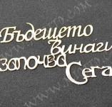 197/2523/Чипборд елементи от бирен картон и дърво-Лазерно изрязани надписи на български от бирен кар-Лазерно изрязан надпис бирен картон Бъдещето започва сега