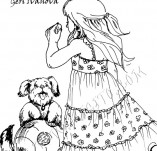 20/257/Дизайнерски печати и надписи за картички-Деца-Дете с куче и топка