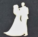 194/2572/Чипборд елементи от бирен картон и дърво-Любов Лазерно изрязани елементи -Лазерно изрян силует на младоженци 2 бирен картон
