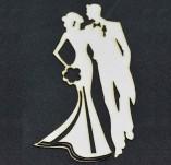 194/2581/Елементи от бирен картон и дърво-Любов Лазерно изрязани елементи -Лазерно изрязани силуети на младоженци бирен картон