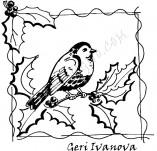 33/336/Дизайнерски печати и надписи за картички-Птици-Птиче с рамка