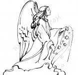 25/340/Дизайнерски печати и надписи за картички-Нова Година-Ангел