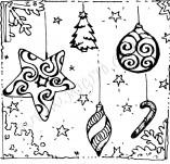 25/350/Дизайнерски печати и надписи за картички-Нова Година-Рамка с коледни играчки