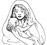 25/382/Дизайнерски печати и надписи за картички-Нова Година-Мадона