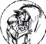 92/539/Дизайнерски печати и надписи за картички-Животни-Дете с кон