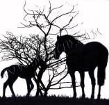 92/540/Дизайнерски печати и надписи за картички-Животни-Коне и дървета