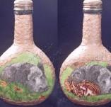 93/544/Декупаж-Бутилки-Малка бутилка с диви прасета