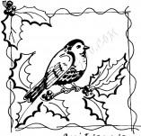 25/560/Дизайнерски печати и надписи за картички-Нова Година-Птиче с новогодишна клонка