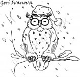 25/561/Дизайнерски печати и надписи за картички-Нова Година-Бухал с шапка