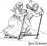 25/563/Дизайнерски печати и надписи за картички-Нова Година-На ски