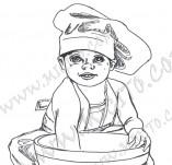 20/916/Дизайнерски печати и надписи за картички-Деца-Готвя