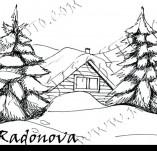103/939/Дизайнерски печати и надписи за картички-Къщи-Къщурка с елхички
