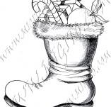25/946/Дизайнерски печати и надписи за картички-Нова Година-Ботуш с подаръци