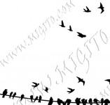 33/958/Дизайнерски печати и надписи за картички-Птици-Птици на жица